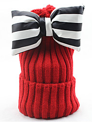 Women Autumn And Winter Curling Hand-woven Tweed Knit Striped Bow Cap Warm Wool Hat