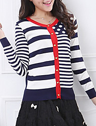 Hot Sale/Women's Casual/Daily / Holiday Sexy / Street chic Regular CardiganStriped Blue / Red Round Neck Long Sleeve Cotton Fall / Winter Medium