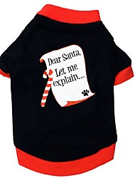 Gatos Perros Camiseta Ropa para Perro Invierno Primavera/Otoño Bloques Casual/Diario Navidad Año Nuevo Negro