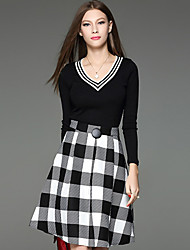 Women's Casual/Daily Simple Skirt Suits,Check V Neck Long Sleeve Black Polyester / Spandex