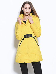 Women's Long Down CoatStreet chic Casual/Daily Solid-Nylon White Duck Down Long Sleeve Square Neck Blue / Yellow
