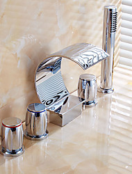 Handshower Included with Ceramic Valve Three Handles Five Holes for Chrome , Bathtub Faucet