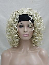 nueva moda 3/4 peluca con la peluca de la venda pálido rubio corto y rizado sintético mitad