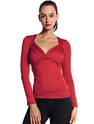 Damen Solide Sexy / Street Schick Ausgehen / Lässig/Alltäglich T-shirt,V-Ausschnitt Frühling / Herbst Langarm Rot / Schwarz / Lila