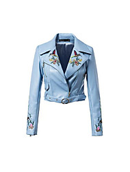 Women's Casual/Daily Simple Leather Jackets,Print Long Sleeve Winter Blue / Black PU Medium
