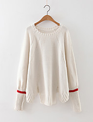 Damen Standard Pullover-Lässig/Alltäglich Einfach Solide Blau Weiß Rundhalsausschnitt Langarm Kaschmir Polyester Herbst Mittel