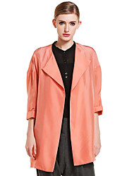 CANTO MOTTO Women's Going out Simple Trench CoatSolid Shirt Collar  Sleeve Fall Orange Silk Opaque