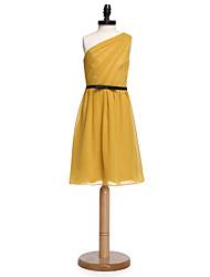 2017 lanting robe de mariée au genou mousseline demoiselle d'honneur junior gaine / colonne une épaule avec ceinture / ruban