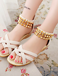 Women's Sandals Summer Comfort PU Casual Wedge Heel Chain Black / Royal Blue / Fuchsia / Beige Others