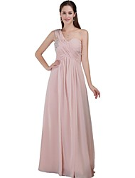 Floor-length Chiffon Beautiful Back Bridesmaid Dress - A-line One Shoulder with Beading
