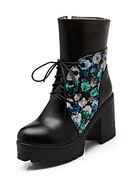 Women's Round Closed Toe High-Heels Soft Material Low-top Assorted Color Boots