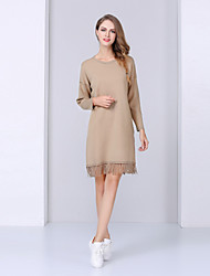 NEDO Women's Casual/Daily Simple Shift DressSolid Round Neck Knee-length Long Sleeve Red / Green