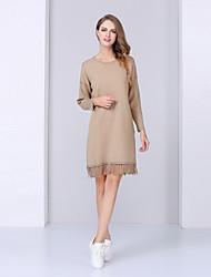 Damen Etuikleid Kleid-Lässig/Alltäglich Einfach Solide Rundhalsausschnitt Knielang Langarm Rot / Beige Kaschmir / Wolle / Acryl / Andere
