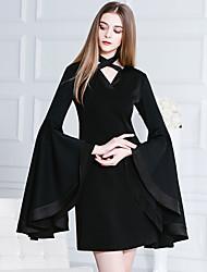 MASKED QUEEN Women's Going out Street chic Little Black DressSolid Halter Above Knee Long Sleeve Black