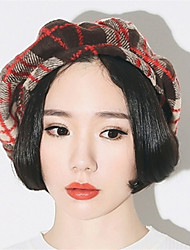 Autumn And Winter Women Casual British Red Grid Lattice Outdoor Berets Octagonal Hat