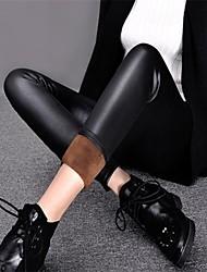 Feminino Flanelada Legging,Couro Ecológico