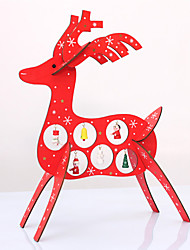 Christmas DIY Wooden Deer Desk DecorationCreative Xmas Reindeer Wood OrnamentsRed Christmas Gift Home Deco