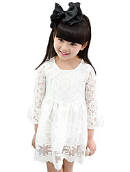 Girl's Cotton Spring/Fall Fashion Casual/Daily Solid Color Sweet Lace Long Sleeve Princess Skirt