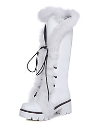 Women's Boots Summer Ankle Strap Fur PU Office & Career Casual Athletic Chunky Heel Lace-up Black White Silver Walking