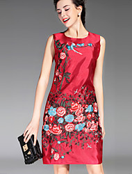 PROVERB Women's Casual/Daily Chinoiserie Loose DressEmbroidered Round Neck Above Knee Sleeveless Red / White / Black Others Summer / FallLow