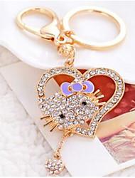 Love KT Cat Car Key Ring Metal Rhinestone