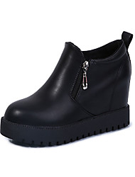 Women's Boots Winter Slide Cowhide Casual Platform Zipper Black Red Gray Walking