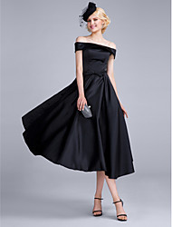 A-ligne-out-the-shoulder longueur de thé chiffon chiffon en satin chiffon cocktail robe de bal avec arc (s)