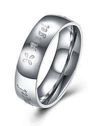 Classic Men Women Titanium Ring Fashion Brand Ring 316L Stainless Steel Jewelry Letters Angel Couples Rings Valentine's Gifts