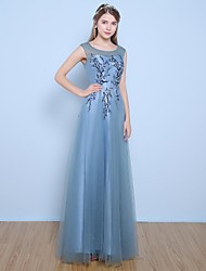 Formal Evening Dress A-line Jewel Floor-length Satin / Tulle with Flower(s) / Pearl Detailing