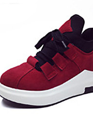Women's Sneakers Spring Fall Winter Comfort PU Outdoor Athletic Flat Heel Lace-up Black Red Gray Running Fitness & Cross Training