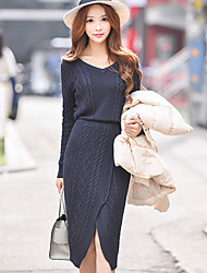 Women's Going out / Casual/Daily / Party/Cocktail Vintage / Street chic / Sophisticated Bodycon / Sheath / Sweater Dress,Solid V Neck