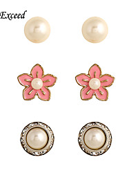 3 Pairs/Set Brand Cute Rose Red Flower Round Imitation Pearl Stud Earring Set for Women ER140557