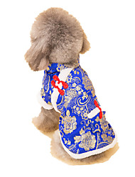 Dog Coat / Sweater / Clothes/Jumpsuit Blue Dog Clothes Winter / Spring/Fall Flower Casual/Daily / Keep Warm