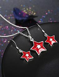 Ensemble de bijoux Noël Forme d'Etoile Blanc Rouge Soirée Quotidien Décontracté 1set 1 Collier 1 Paire de Boucles d'OreilleCadeaux de