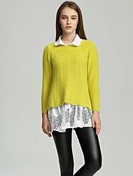 Damen Standard Pullover-Ausgehen Lässig/Alltäglich Einfach Niedlich Solide Rosa Beige Gelb Lila Rundhalsausschnitt Langarm Baumwolle