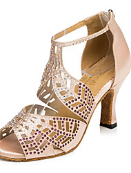 Zapatos de baile(Negro / Marrón / Rojo) -Latino / Jazz / Zapatillas de Baile / Moderno-Personalizables-Tacón Cuadrado