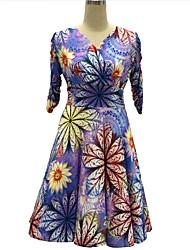 Swing Robe Femme Grandes Tailles Vintage,Fleur Col en V Mi-long ½ Manches Violet Polyester Automne Taille Normale Micro-élastique Moyen