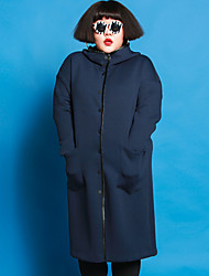 JAZZ  Women's Plus Size / Casual/Daily Simple CoatSolid Shirt Collar Long Sleeve Winter Blue Polyester / Spandex / Others
