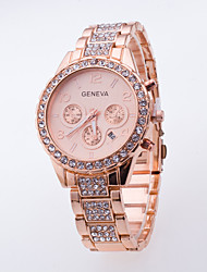 Women's Fashion Casual Wrist Watch Popular Dress Watch Of Rhinestone Generva Quartz Watch Ladies With Calendar Watch Men