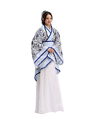 Cosplay Costumes Festival/Holiday Halloween Costumes White & Blue Print Coat / Skirt / Belt Female Cotton
