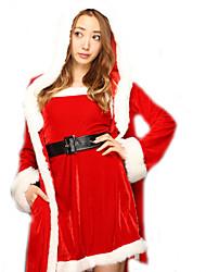 Fantasias de Cosplay Ternos de Papai Noel Cosplay de Filmes Vermelho Cor Única Vestido / Xale Natal Feminino Poliéster