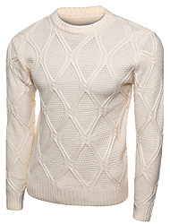 Men's Casual Slim Diamond Pattern Knitted Pullovers O Neck Long Sleeve Cotton Fall / Winter Medium Micro-elastic
