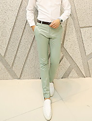 Masculino Reto Chinos Calças-Cor Única Casual Simples Cintura Média Zíper Algodão Micro-Elástico Verão