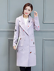Женский На каждый день Однотонный Пальто V-образный вырез,Простое Зима Серый Длинный рукав,Полиэстер,Средняя