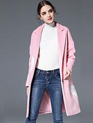 KENAYA Women's Casual/Daily Simple CoatSolid Notch Lapel Long Sleeve Fall / Winter Pink / Red Wool