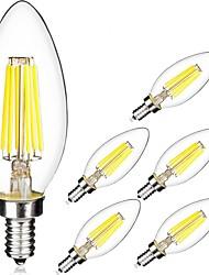 6W E14 Ampoules à Filament LED C35 6 COB 560 lm Blanc Chaud Blanc Froid AC 100-240 V 6 pièces