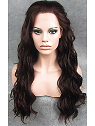 IMSTYLE 24''Fashion Dark Auburn Water Wave Synthetic Lace Front Wigs Heat Resistant Dyeable