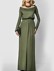 Women's Casual/Daily Sophisticated Sheath Dress,Solid Round Neck Maxi Long Sleeve Green Polyester Fall / Winter High Rise Stretchy Medium