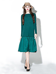 Women's Casual/Daily Vintage Loose Dress,Patchwork Round Neck Knee-length Long Sleeve Gray / Green Cotton / Polyester Spring / FallMid