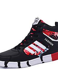 Feminino-Tênis-Conforto-Rasteiro-Azul / Preto e Vermelho / Preto e Branco-Couro Ecológico-Casual